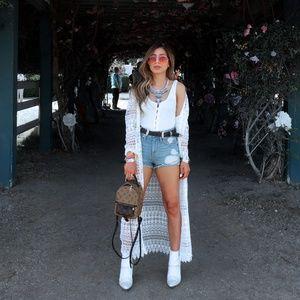 H&M Crotchet Coachella Jacket Duster White